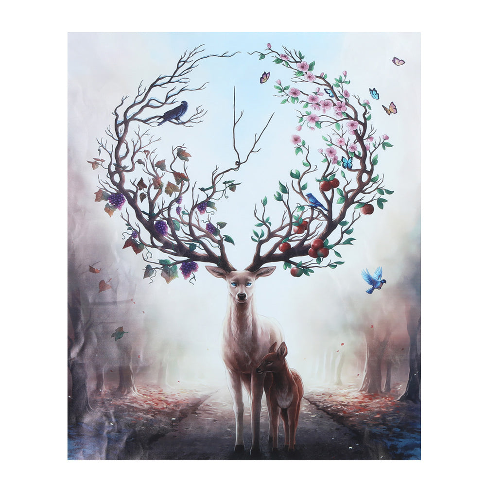 Cartoon Animal Deer Oil Painting Minimalist Art Canvas Poster Painting Nursery Picture Print Modern Home Children Room Decor