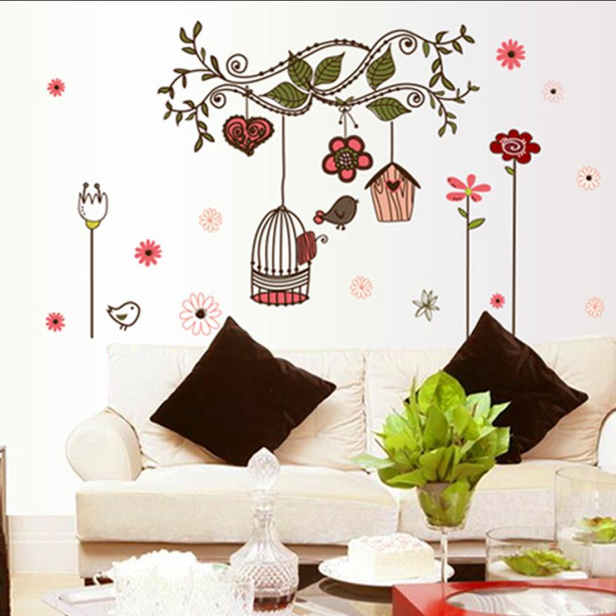 Wall Stickers Bird Cage Wall Sticker Home Art Decor Wall Stickers Living Room Decals XT
