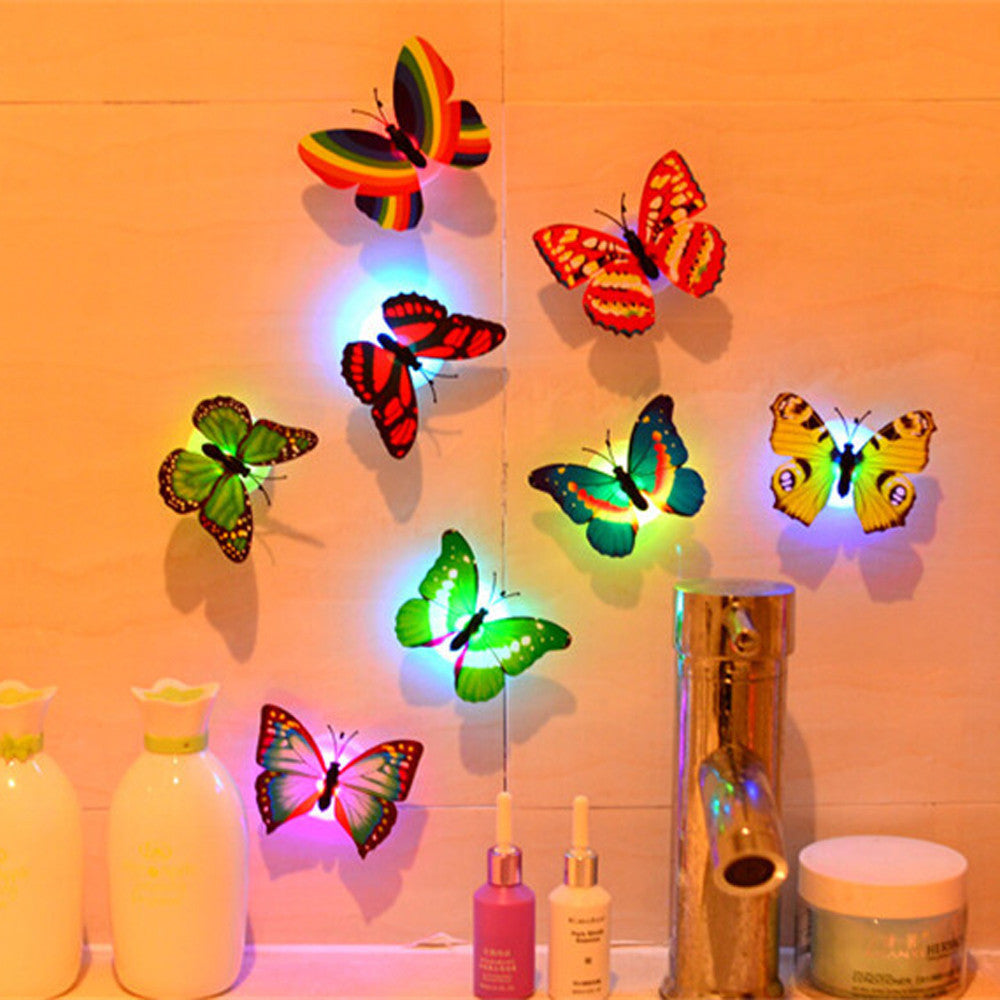 10Pcs Wall Stickers Butterfly LED Lights Wall Stickers 3D Refrigerator Stickers House Decoration