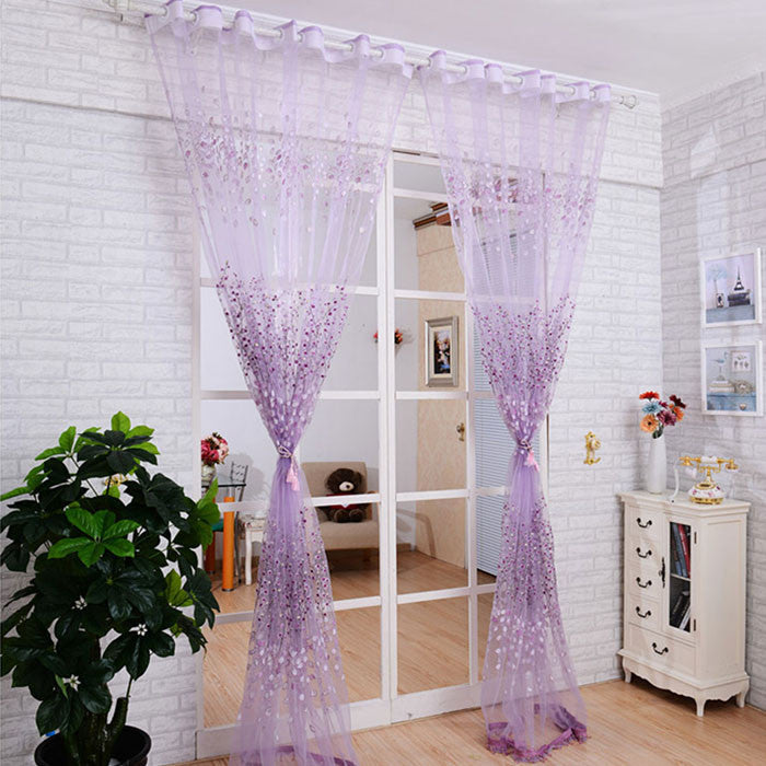 Floral Sheer Tulle Voile Door Curtain Window Room Drape Panel Scarf Valance Rideaux Pour le Salon