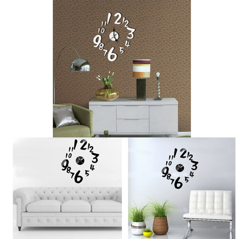 2016 New Luxury Sticker DIY Mirror Wall Clock Wall Sticker Home Decoration wall sticker Free shipping