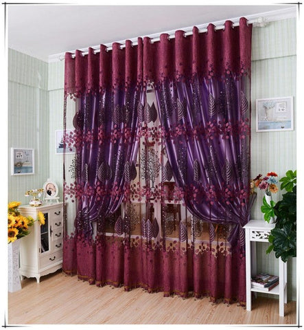 2015 Famous Brand New Leaf Hollow Window Screens Door Balcony Curtain Panel Sheer Cover curtains for living room Bedroom cortina