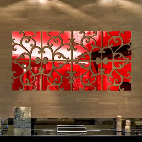 32pcs/set DIY 3D Acrylic Mirror wall stickers Decal Mural Wall Sticker Home Decor living room