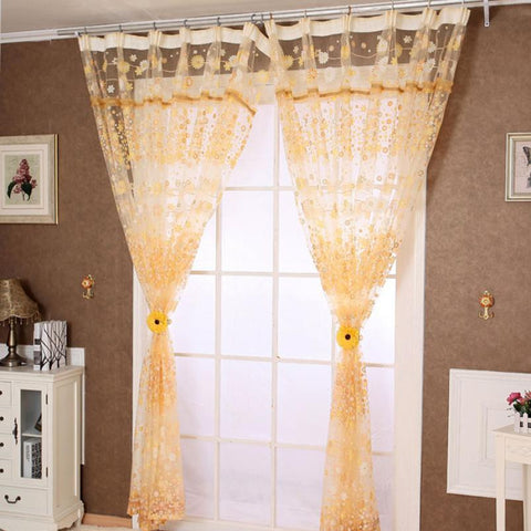 Brand new Window Curtains Floral Tulle Door Window Curtain Drape Panel Sheer Scarf Valances modern curtains for living room