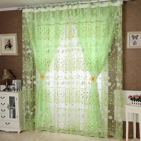 Super Deal 1PC 300*280cm Floral Tulle Balcony Door Window Curtain Drape Sheer Panel Scarf Window Curtain