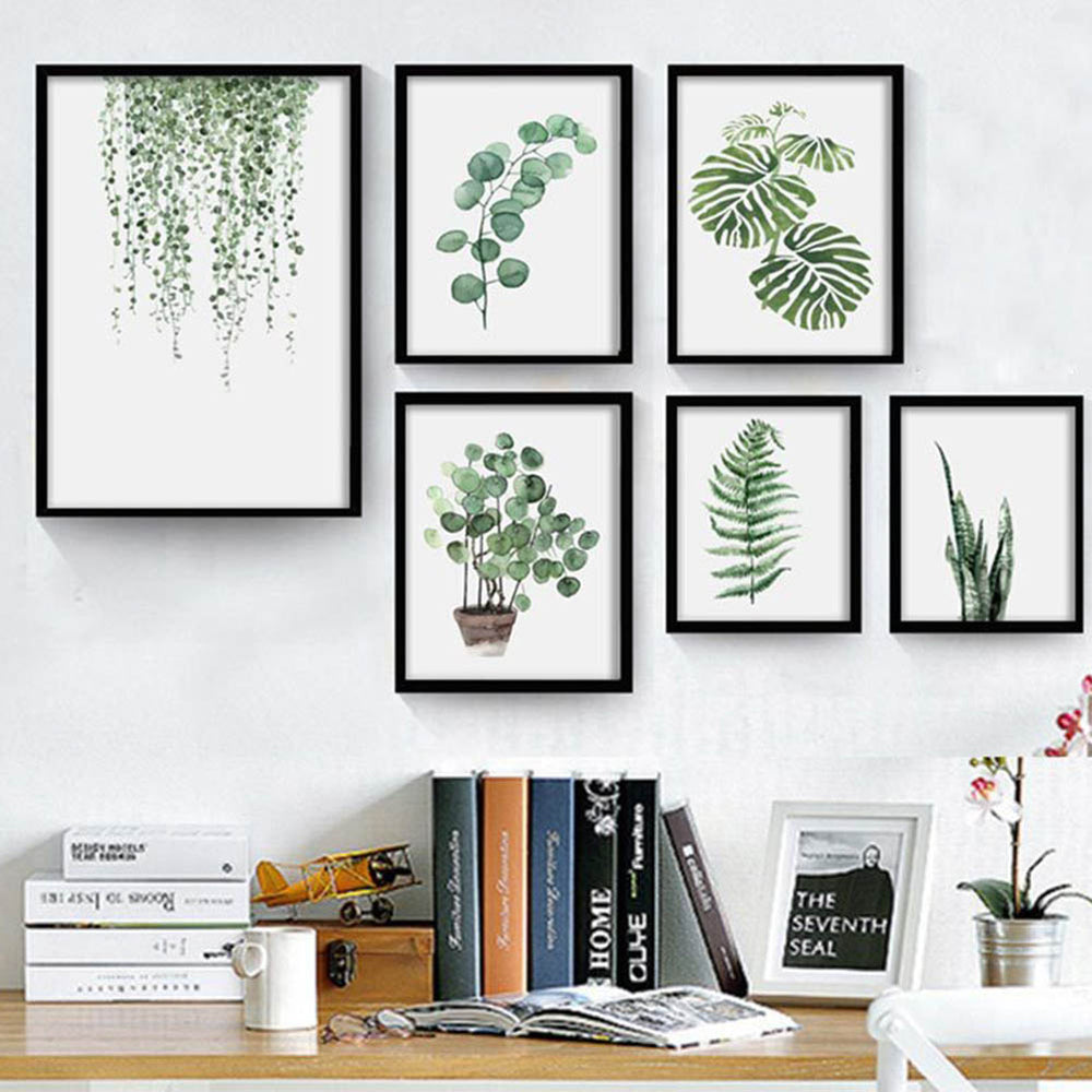 Watercolor Tropical Plant Leaves Minimalist Art Canvas Poster Painting Nature Wall Picture Modern Home Office Room Decoration