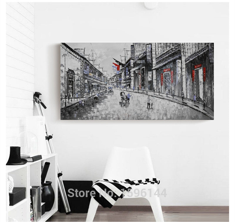 Oil Painting Landscape Old Shanghai Street Picture Modern Wall Art Abstract Ornaments Home Decor Paintings Canvas Hand painted