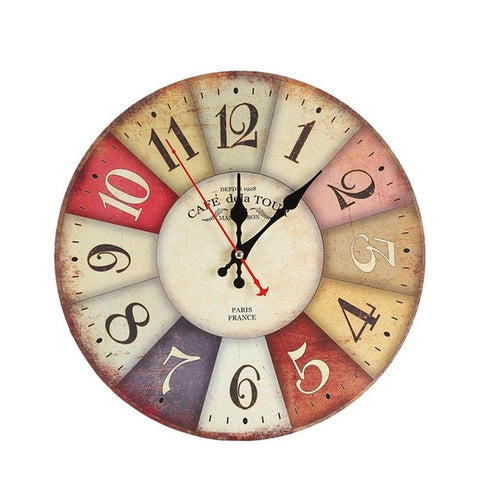 2017 New Arrival 30cm Retro European Style Wall Mounted Clock Round Colorful Faux wood Wall Clock Home Room Hang Decoration