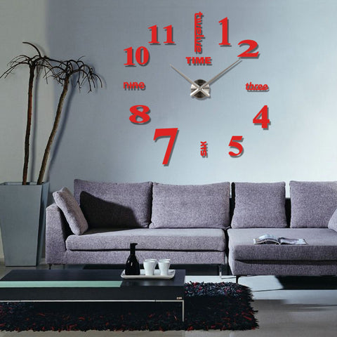 Super Big Size Home Creative DIY Clock Fashionable Design Home Living Room Mirror Face Decorative Clock Sticker