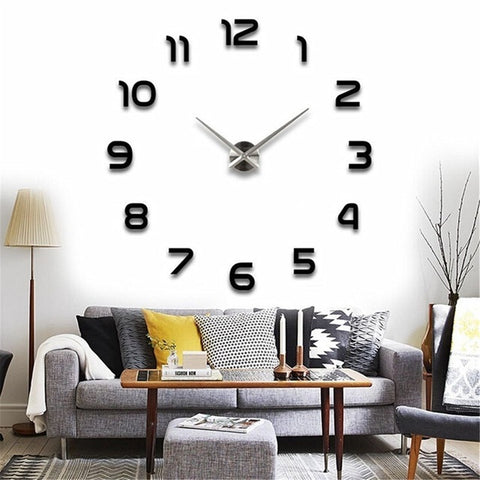 DIY 3D Mirrors Wall Clock Stickers Plane Surface Wall Stickers Decals Murals Clock Home Room DIY Decoration Luxury Art Clock
