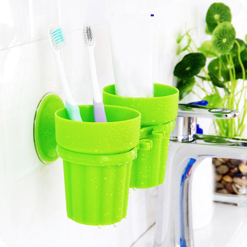 Strong Durable Couple Suction Cup Holder Fashion Cute Non-toxic Seamless Toothbrush Holder Toothpaste Rack Bathroom