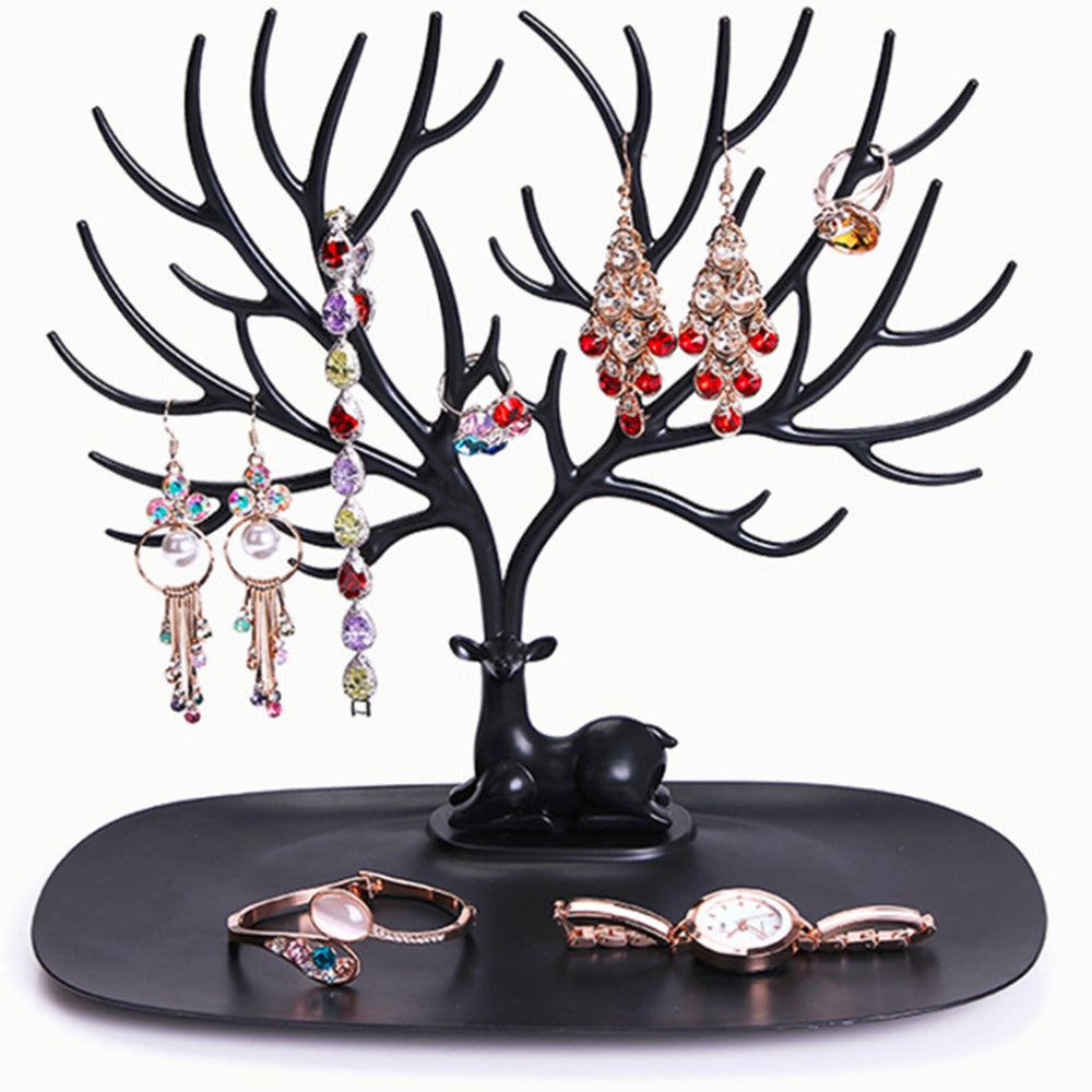 Portable Wood Jewelry Earrings Necklace Ring Show Rack Tree dressing table. Display Organizer Holder Stand multicolor