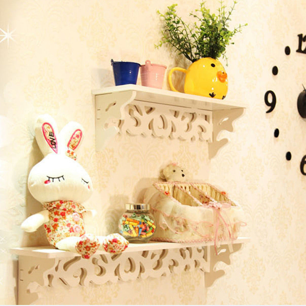 1pc/lot White Wall Hanging Shelf Goods Convenient Rack Storage Holder Home Bedroom Decoration Ledge Home Decor S/M/L