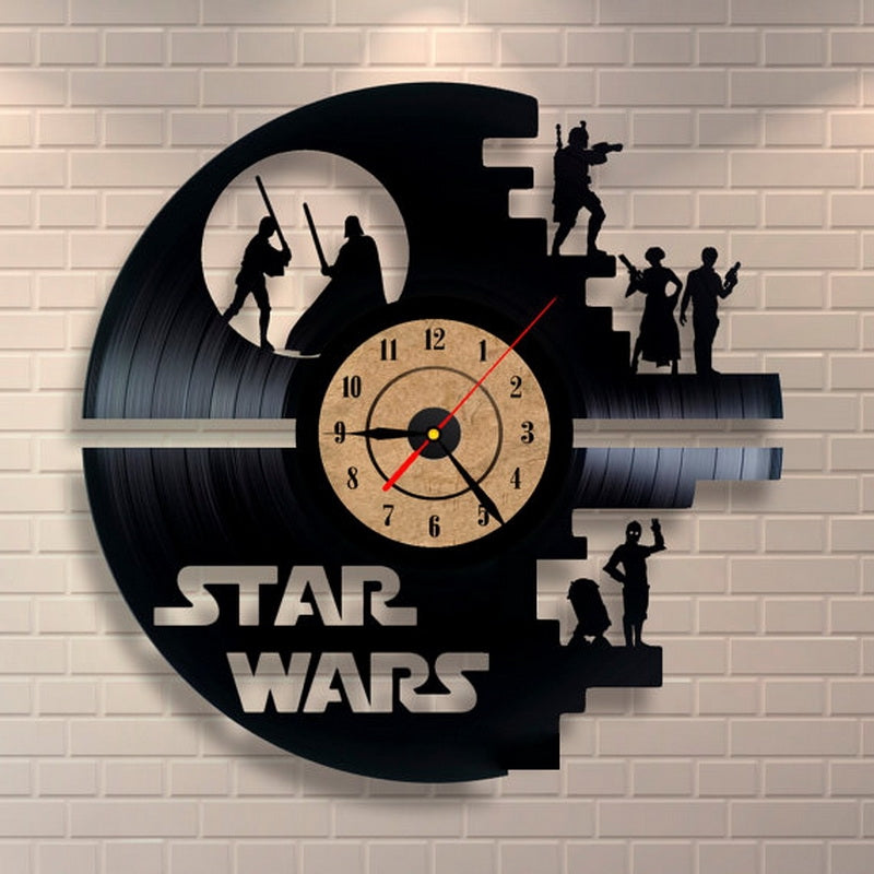 Fashion Creative Clock CD Vinyl Record Wall Clock Film STAR WARS Theme Home Decor 3D Hanging Watches Duvar Saat Home Decoracion