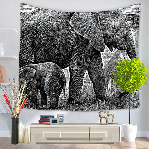 Coloured Drawing Or Pattern Elephant Tapestry Hanging, Sandy Beach A Piece Of Cloth Sit Carpet GT1003