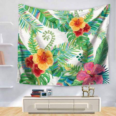 Tapestry Tropic Botany Series Green Leaf Printing Hanging, Decoration Sandy Beach Sit Carpet