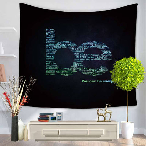 Tapestry English Letter Printing Hanging, Sandy Beach Sit Carpet GT1112