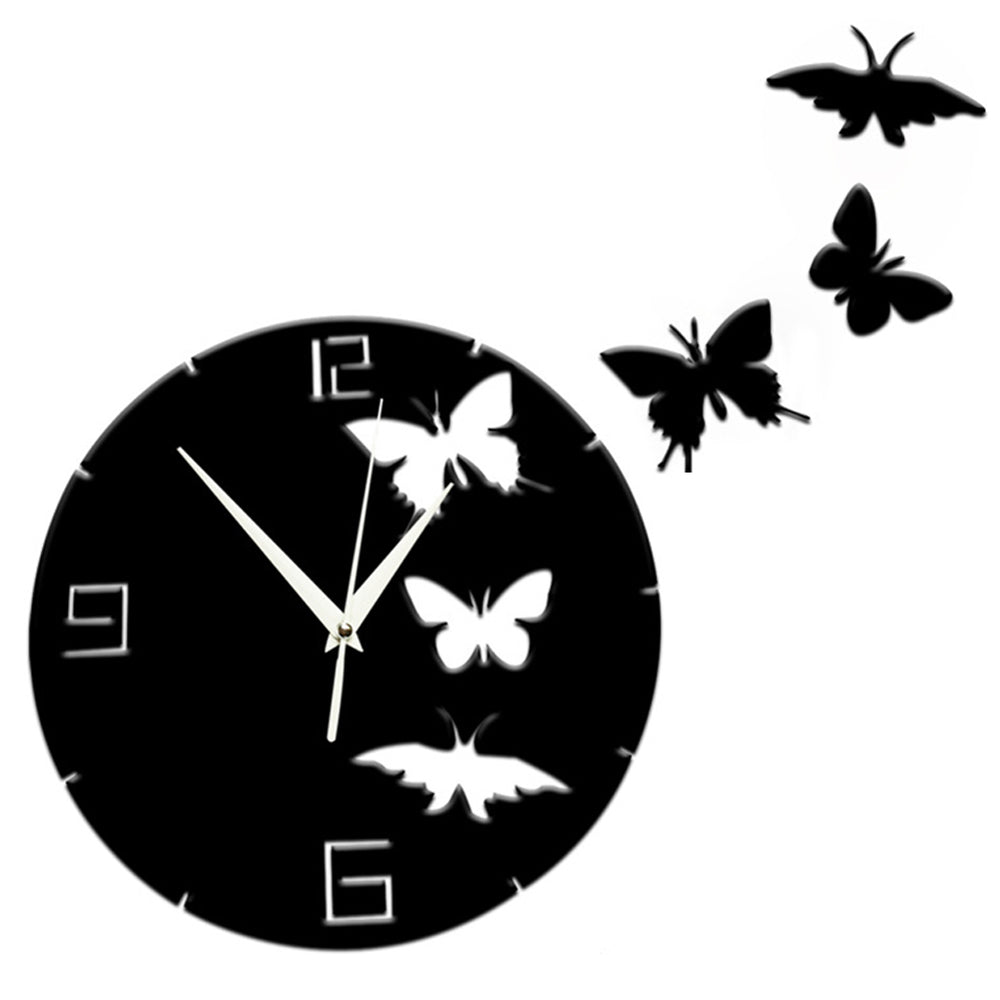 Wall clocks modern wall art online store crystal butterfly 3d mirror wall clocks acrylic decorative clocks wall sticker clocks diy wall clocks home amipublicfo Choice Image