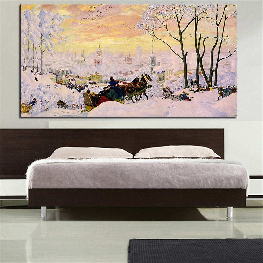 Winter Landscape Original Oil Painting Print for Wall Decoration