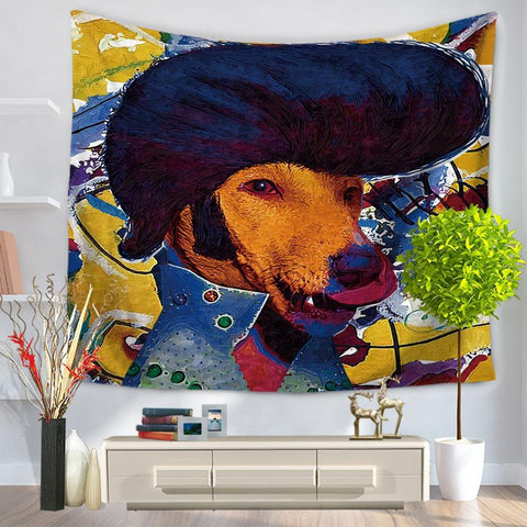 Animal Star Face Tapestry Hanging, Sandy Beach a Piece of Cloth Sit Carpet