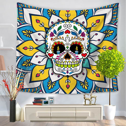 Cartoon Human Skeleton Head Tapestry Hanging, Sandy Beach a Piece of Cloth Sit Carpet