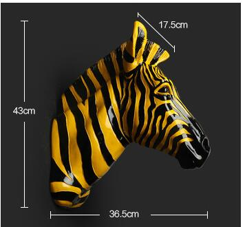 Home Decoration Accessories Furnishing Animal Spot Horse Pendant Wall Above The Mural Decorations Zebra head statue sculpture
