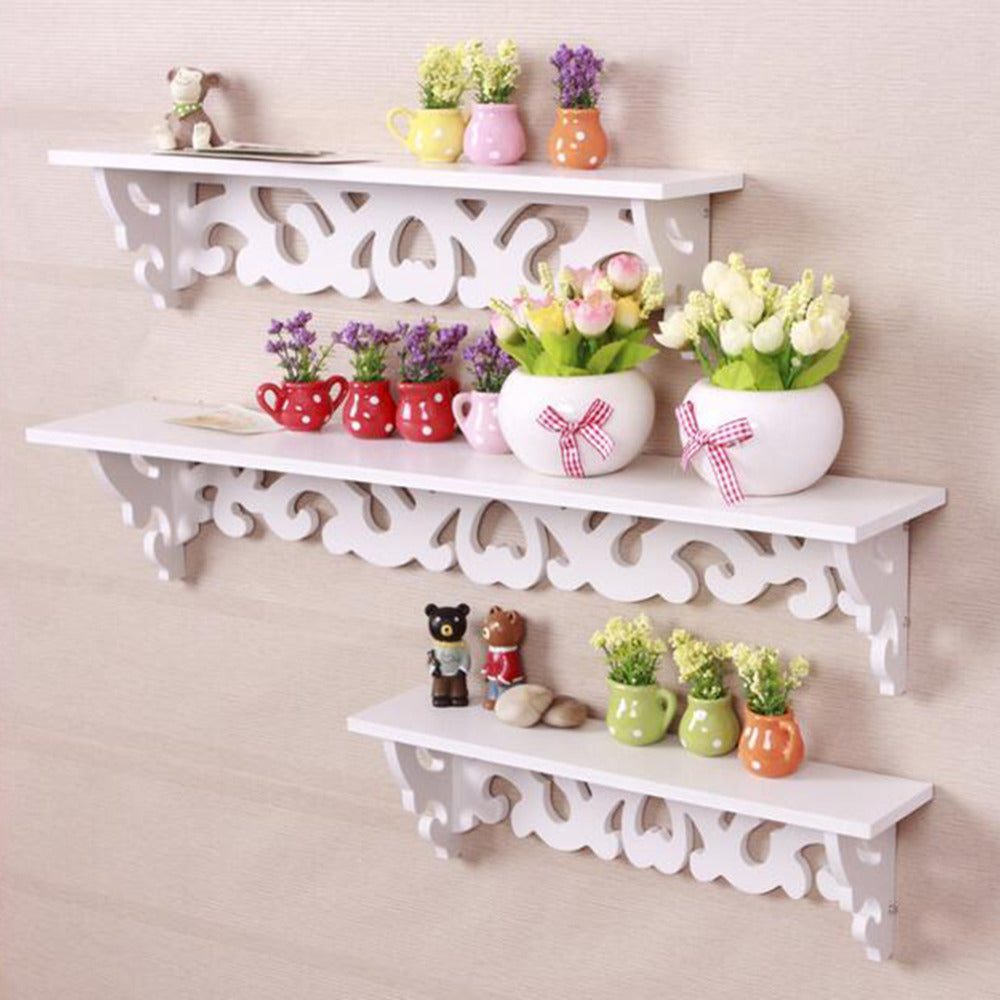 Portable and Durable M Model White Wooden Carved Wall Shelf Display Hanging Rack Storage Rack Home Decorations