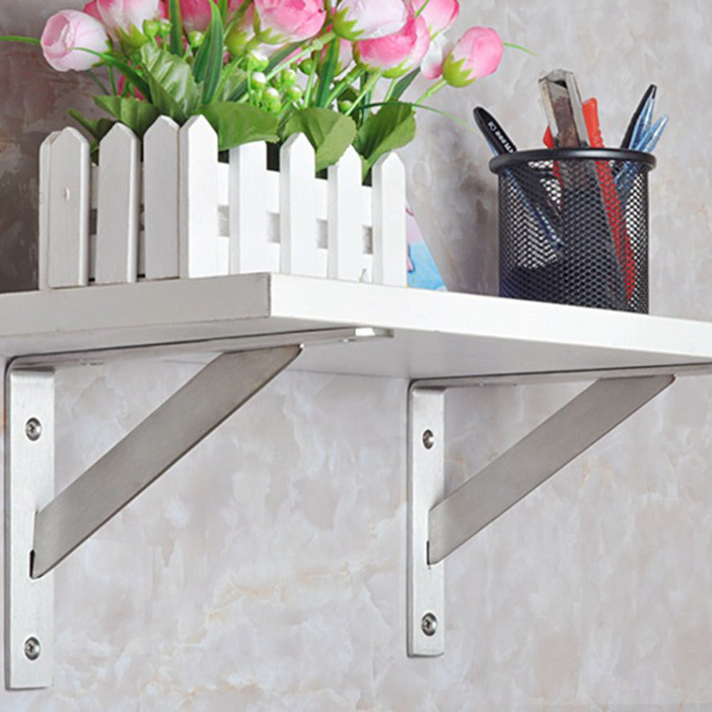 2Pcs Practical Stainless Steel Silver Color Tripod Bracket for Wall Shelf Bookcase Compartment Support Frame