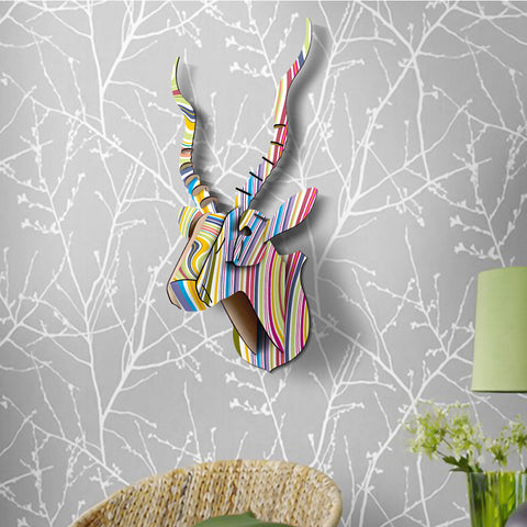 Colorful 3D Puzzle Creative DIY Wooden Model Wall Hanging Decorative Deer Head Elk Wood Gift Craft Home Decor Sculpture Figurine