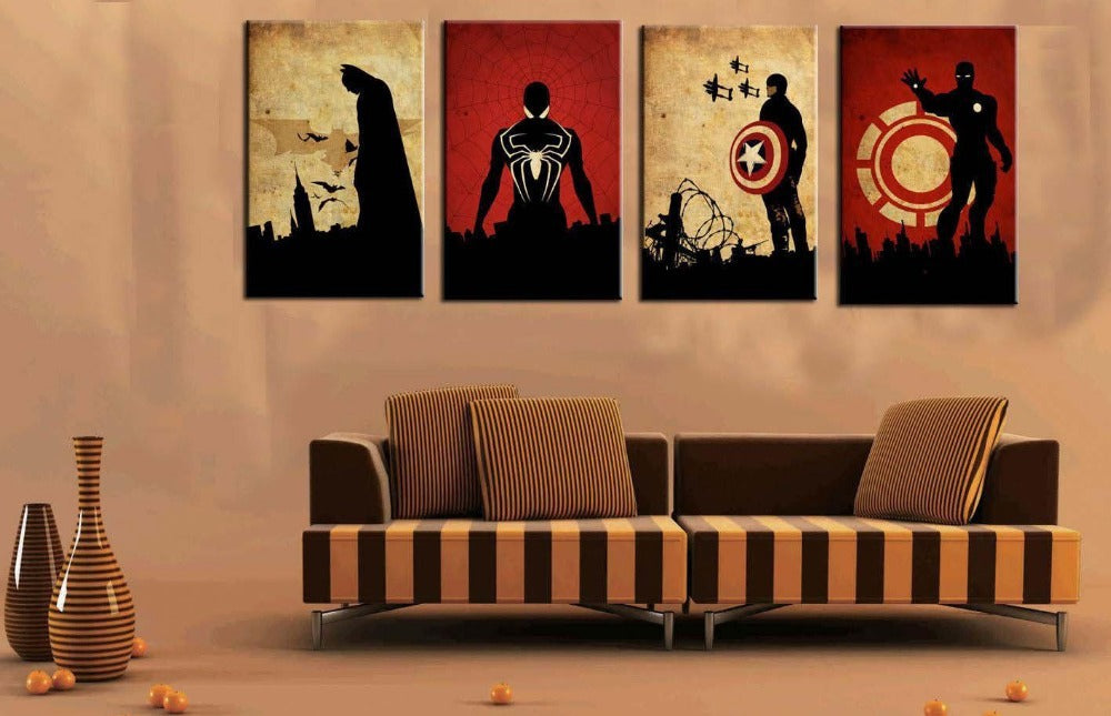 100% hand painted canvas oil paintings for Living Room Wall Art Picture Gift Decoration Home Picture four Superman movie star