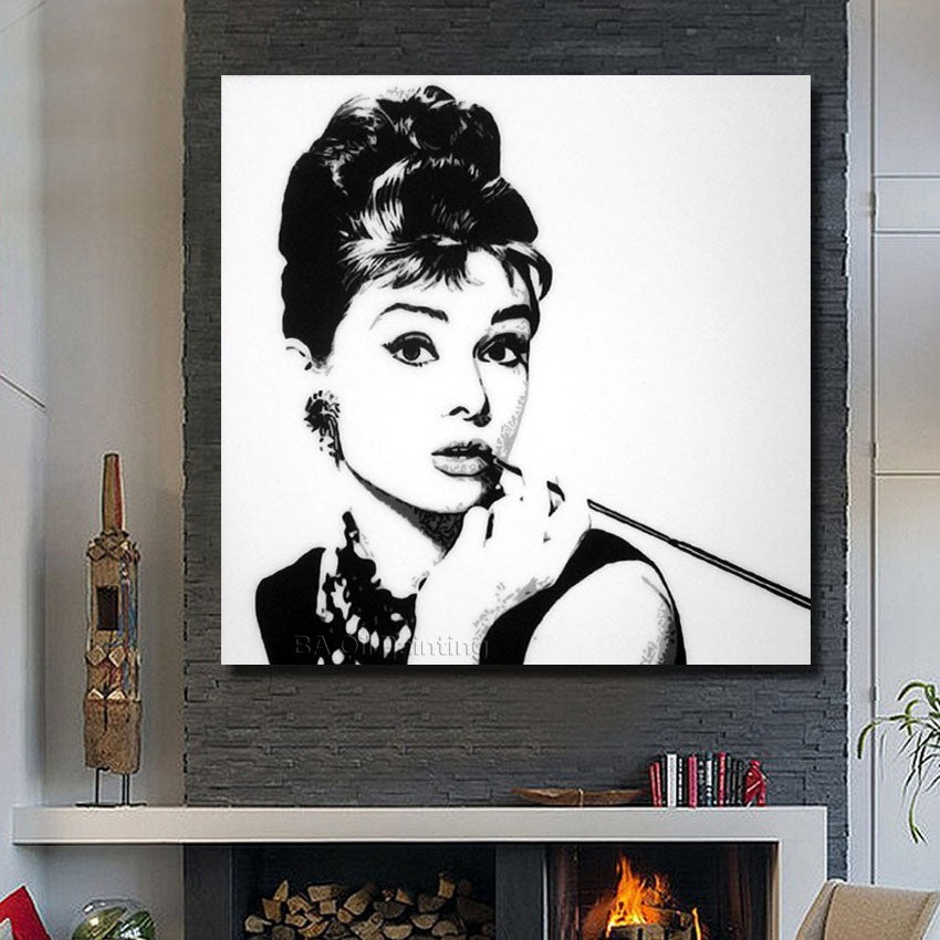 Nice Girl Movie Star Pop Art wall decor 100% Handmade Oil Painting On Canvas Canvas Painting Frame and No Framed