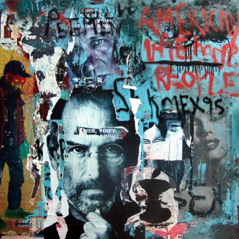 High quality Oil paintings Original 100% hand painted Graffiti style art Abstract Steve Jobs Modern painting on canvas