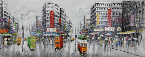 Wall Art Oil Painting Abstract Original Hand painted Old Street Hongkong Landscape Picture Modern Ornaments Paintings Canvas