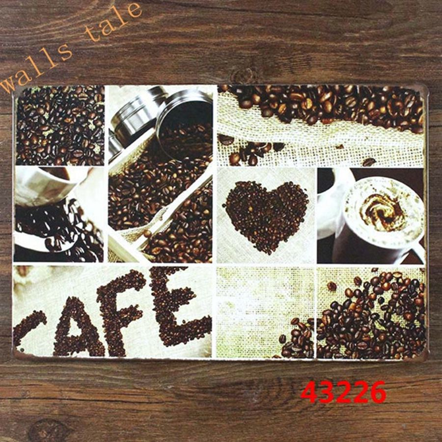 Coffee Metal Poster Gift cafe shop Wall Metal Painting Poster Creative Art Decor , coffee cupboard Wall Hanging
