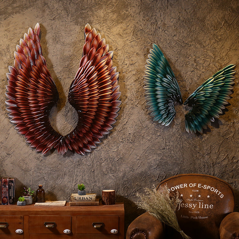 Size L Only Creative Home Wall Decor Abstract  Retro Wing Sculpture Decor Figurine Decorative Metal Wings Statue TV Background
