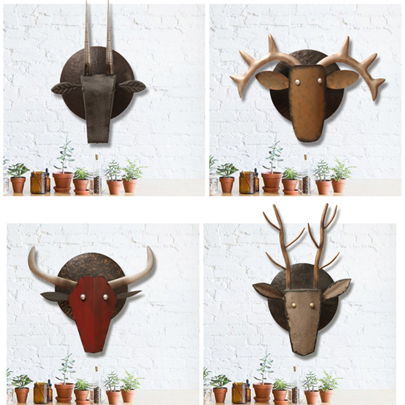 Creative Retro Home Wall Decor Abstract Animal Sculpture Bull Deer Goat Decor Figurine Decorative Metal Statue TV Background