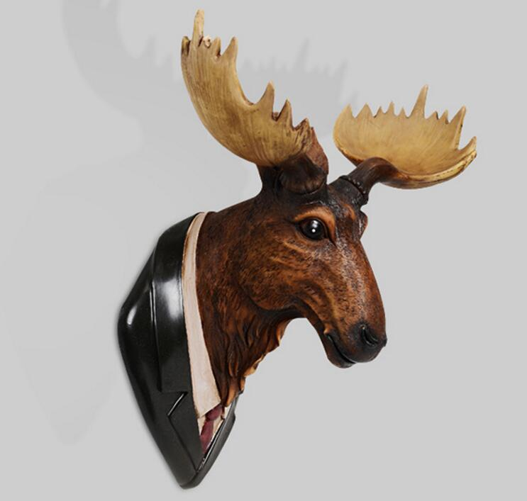 The American deer head hanging mural room background wall hanging statue sculpture home decoration accessories wapiti
