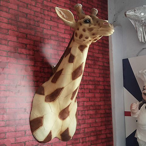 Simulation of large wall murals of resin crafts giraffe European style Home Furnishing wall decoration design statue sculpture