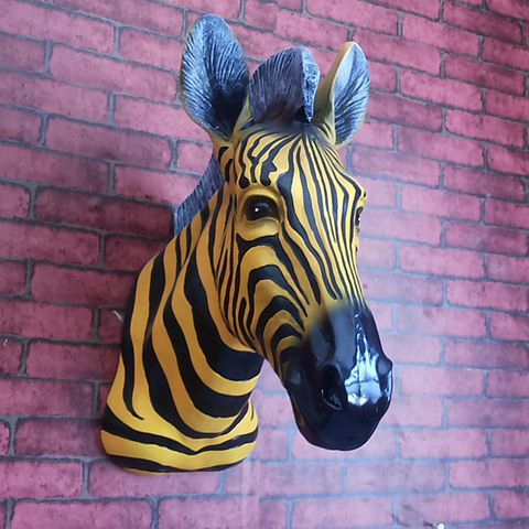 American Country Style Creative Animals Resin Sculpture Zebra Head Wall hanging for Bar Club Shop Open Wall Soft Decorations