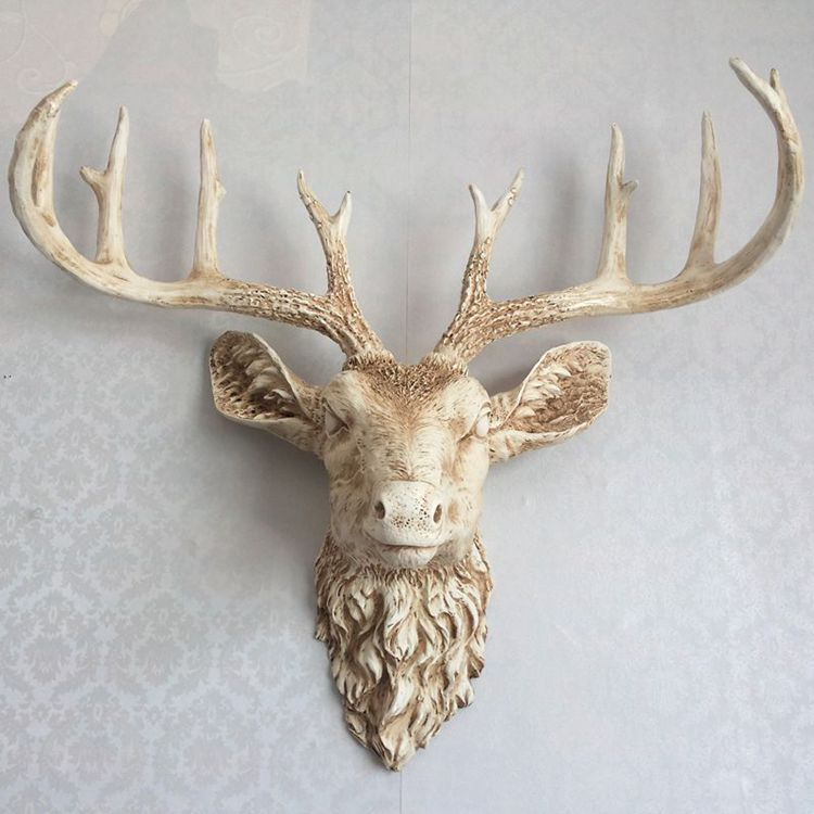 Nordic style sculpture Simulation animal retro white deer head wall hanging for home bar background soft design resin crafts