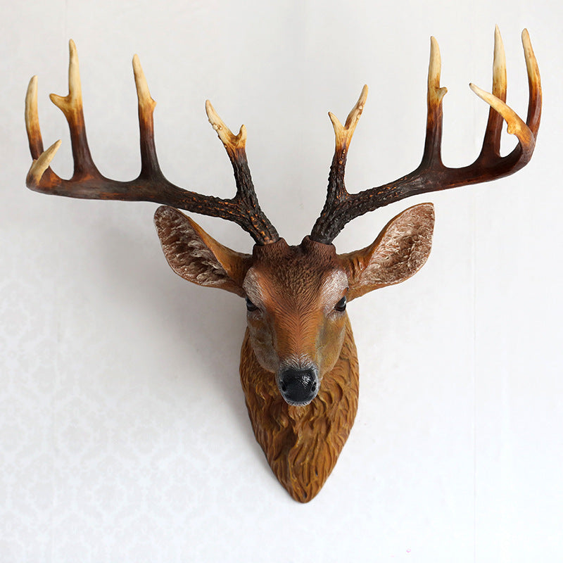 Elegant sculpture simulation deer head wall hanging resin crafts for home living room restaurant bar club wall ornaments