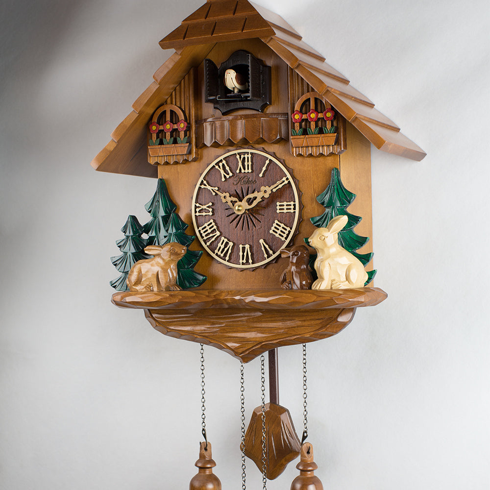 Multicolour  rabbit wall  cuckoo clock wood sculpture alarm clock photoswitchable movement for children