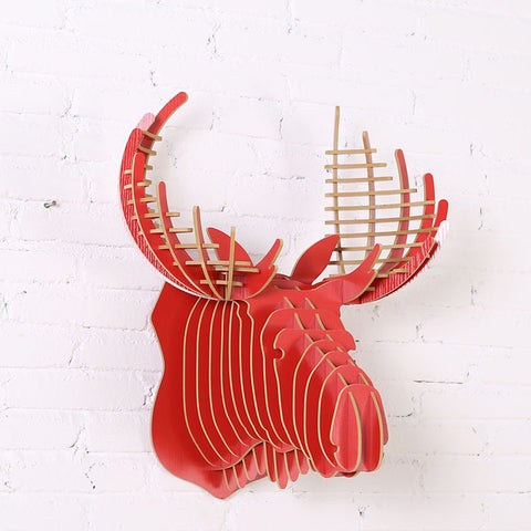 Wall Hanging Wooden Crown Stag Head 3D Puzzle 5mm Home Wall Decor Wall Hanging Animal Sculptures Wooden Sculpture WDM017M
