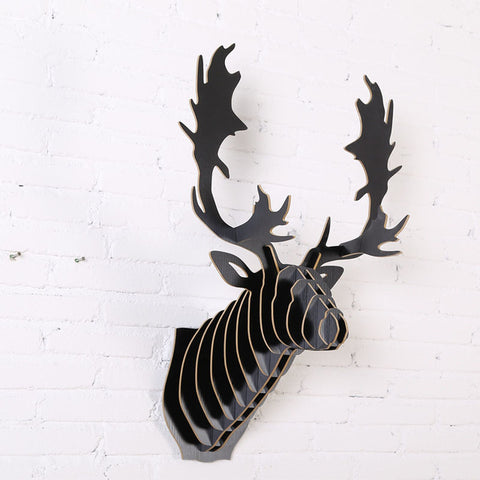 Wood Sculpture REINDEER Head  Animal Trophy Head Wall Wooden Craft for Wall/Bar/Club Decoration WDM018M