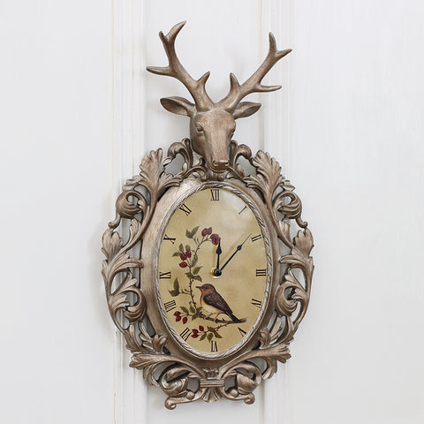 Vintage Room Wall Clock European Fashion American Bedroom Home Furnishing Mute Creative Deer Head Sculpture Decor Wall Clock