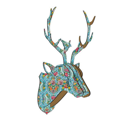 Vintage 3D Puzzle Wall Hanging DIY Wooden Model Deer Head Elk Wood Animal Wildlife Sculpture Figurines Gift Crafts Home Decor