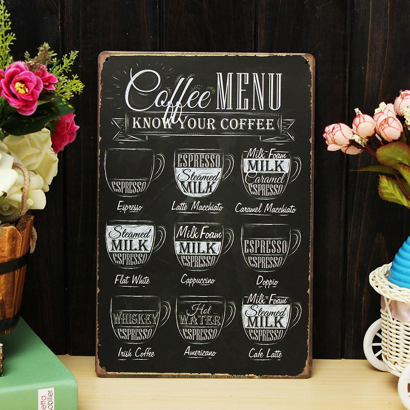 1Pc Vintage Coffee Menu Tin Sign Plaque Poster Metal Art Poster For Bar Pub Cafe Home Decoration