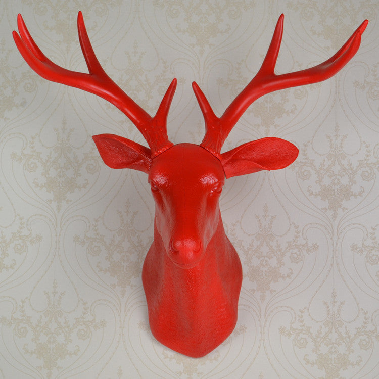 wall hanging red whitetail buck bust deer head trophy hunt sculpture faux taxidermy with antlers as  modern home decor ornament