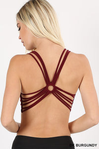 9cf12441b5842 Ring Accented Strappy Back Sports Bra - Dark Burgundy – Pink ...