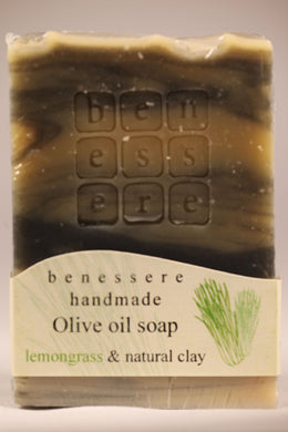 Handmade Natural Greek Island Soap - Black Clay & Lemongrass